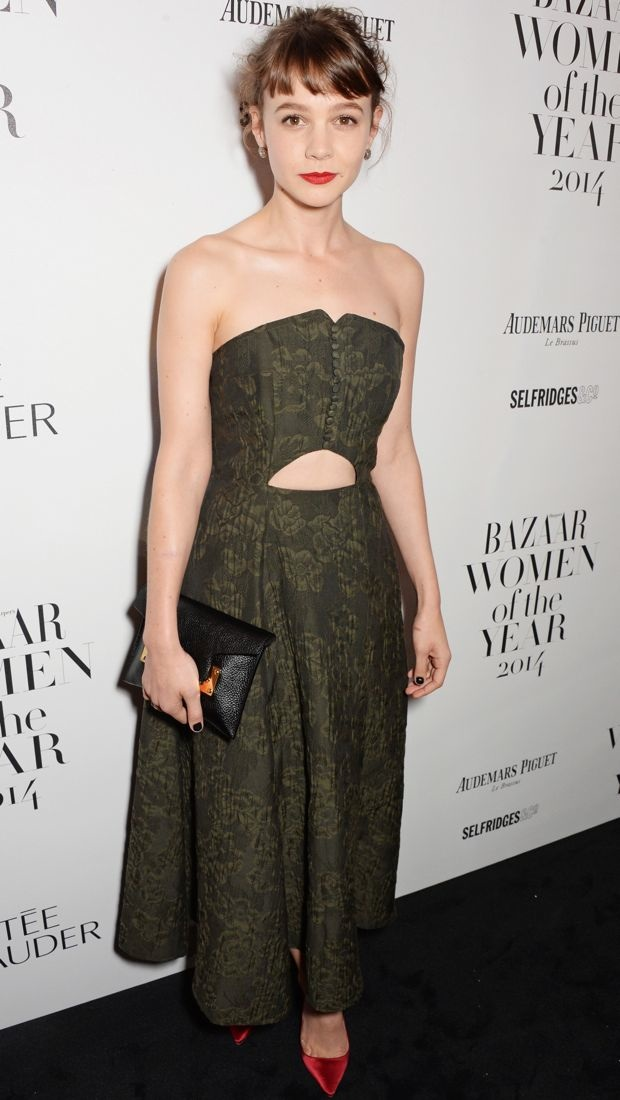 Carey Mulligan sports a green Erdem Spring 2015 dress