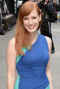 Jessica Chastain Colorblocks in Style Courtesy of Roland Mouret