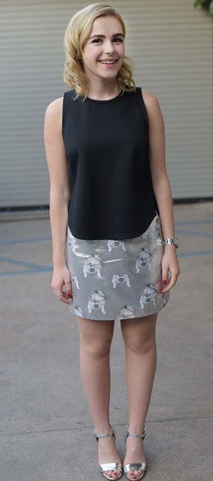 Kiernan Shipka sporting a silver Tanya Taylor skirt