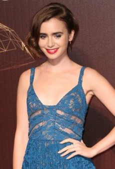 Lily Collins Laces Up in a Blue Elie Saab Gown