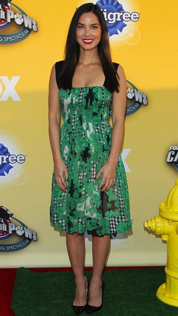 Olivia Munn in a Diane von Furstenberg Spring 2015 dress