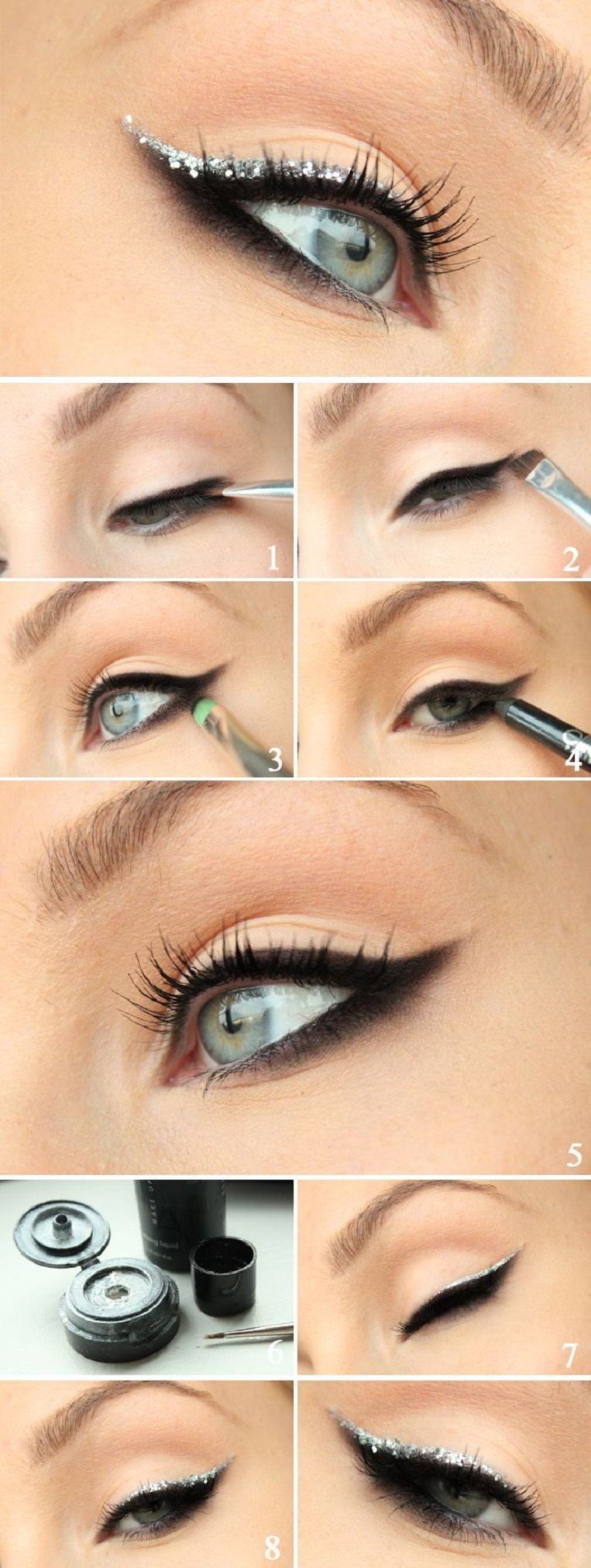 Pinterest_Smokey-eyeliner-with-silver-glitter