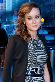 Brie Larson Bolsters Her Printed Alexander McQueen Dress with Blue Accessories