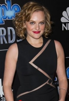 Elisabeth Moss Revs Up Her David Koma Dress with Red Accents