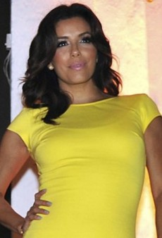 Eva Longoria Lights Up Cartagena in a Neon Dress