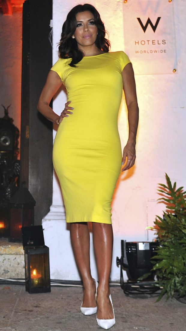 Eva Longoria sports a neon dress in Cartagena