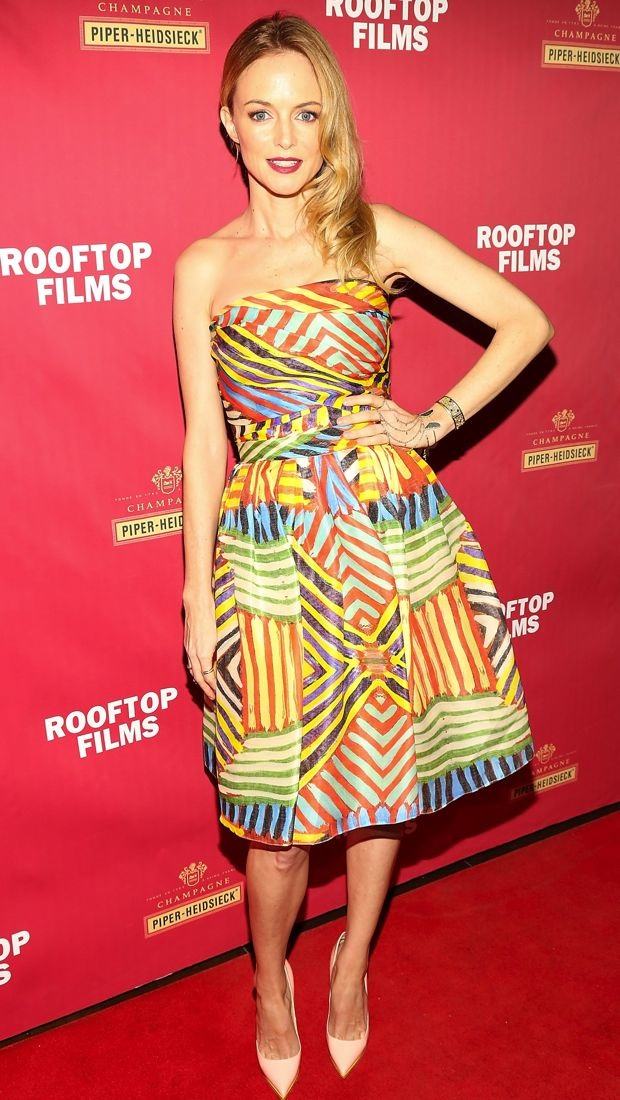 Heather Graham wears a striped Naeem Khan dress to a screening