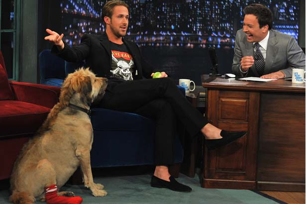 Ryan Gosling and his dog George on Late Night With Jimmy Fallon; Image: Getty
