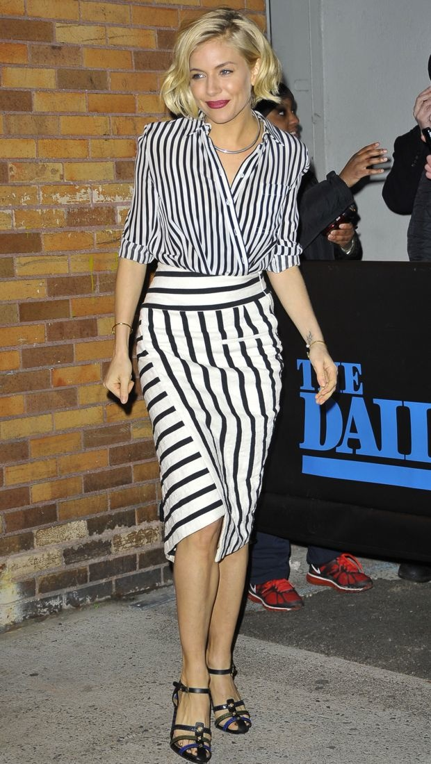 Sienna Miller steps out in stripes in NYC