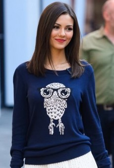Victoria Justice Visits Extra in a Geek Chic French Connection Sweater