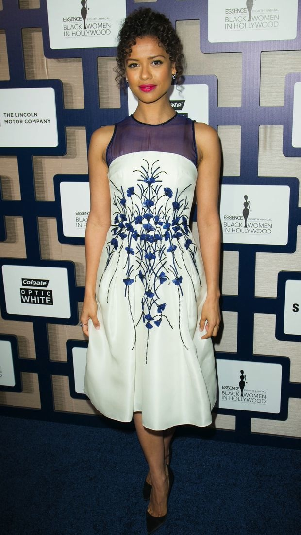 Gugu Mbatha-Raw lunches in a pretty Carolina Herrera frock