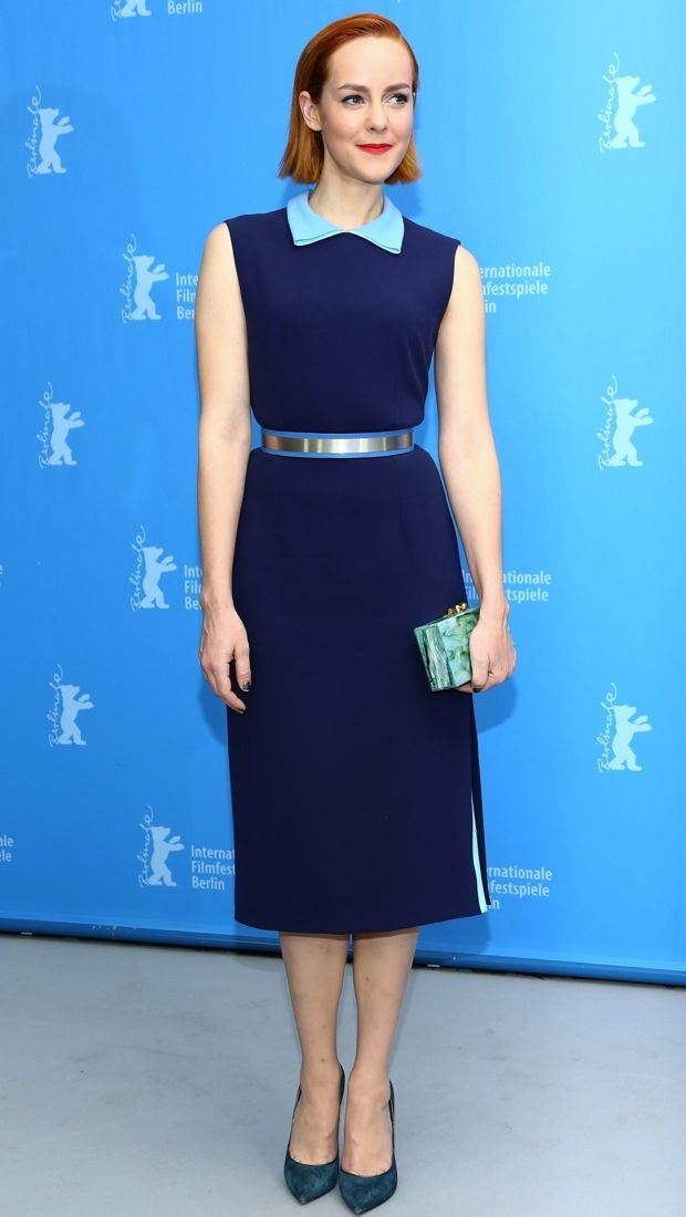 Jena Malone sports a blue Roksanda dress in Berlin