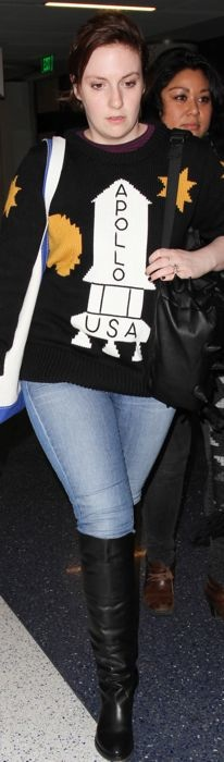 Lena Dunham in a Coach sweater at LAX
