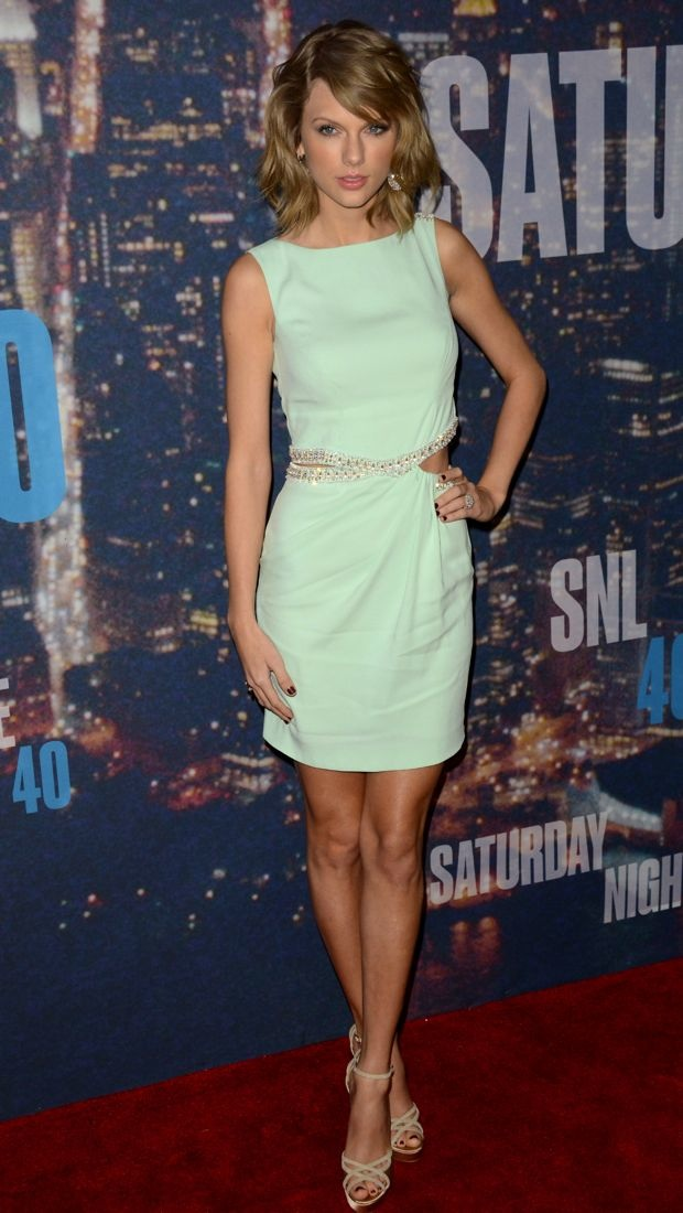 Taylor Swift rocks a minty Azzaro Spring 2014 dress at the