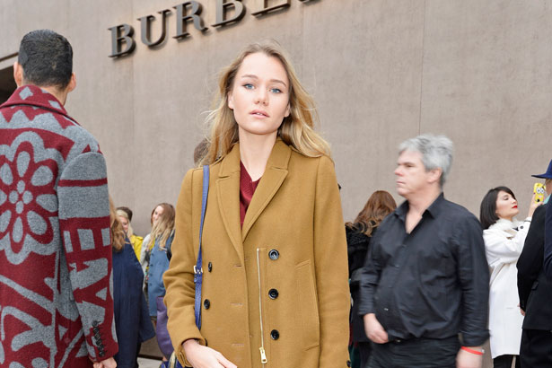 Immy Waterhouse arrives at Burberry Prorsum AW15 London Collections: Men