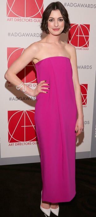 Anne Hathaway rocks a pink Solace London dress at the 19th Annual Art Directors Guild Excellence in Production Design Awards