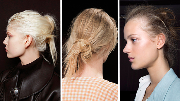 spring 2015 hair trends messy buns sportmax phillip lim bottega veneta