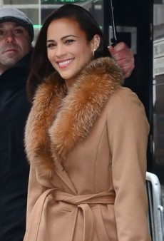 Paula Patton Promotes Ellen Tracy in a Chic Ombre Fur Collared Coat