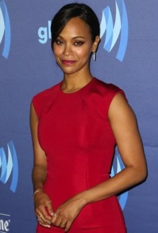 Zoe Saldana Layers on the Red with Cushnie et Ochs and Kurt Geiger