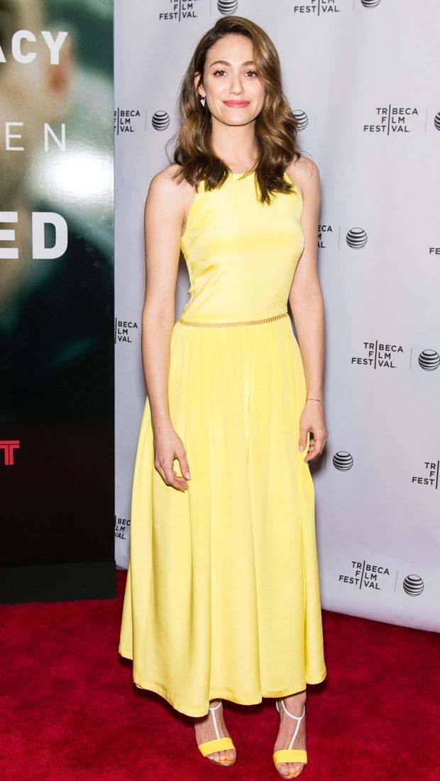 Emmy Rossum shines in a bright yellow Preen dress at the Tribeca Film Festival