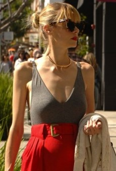 Jaime King Artfully Accessorizes Her Gray Tank and Red Skirt