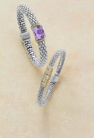 Two silver Lagos bracelets.