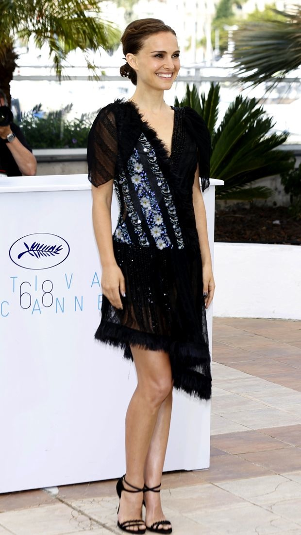 Natalie Portman opts for a little black Rodarte dress in Cannes