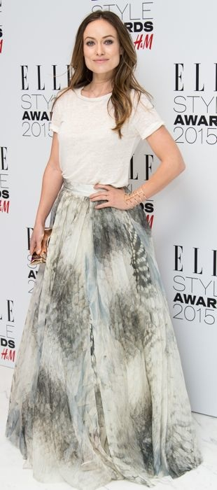 Olivia Wilde in a H&M Conscious Collection skirt at the 2015 ELLE Style Awards