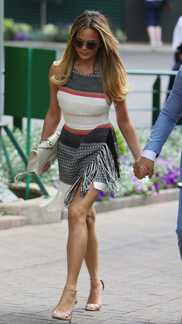 Chrissy Teigen sports a textured Magda Butrym dress at Wimbledon