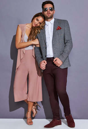 Aisha Jade McKinnon and Travis Lunardi pose for boohoo