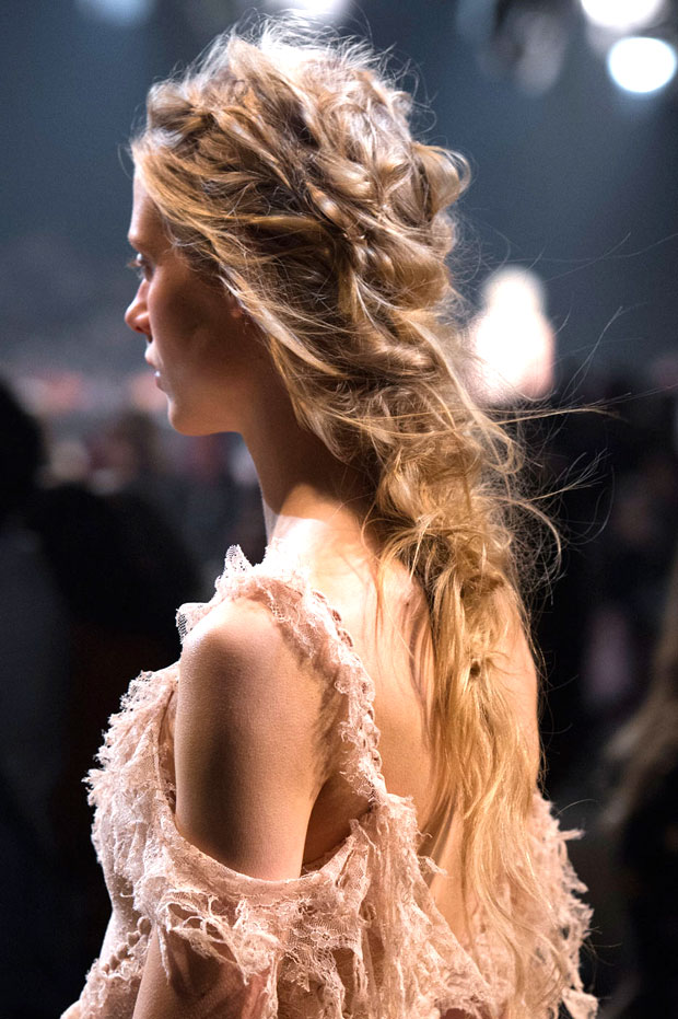 hair stitching on the runway at Alexander McQueen Spring 2016