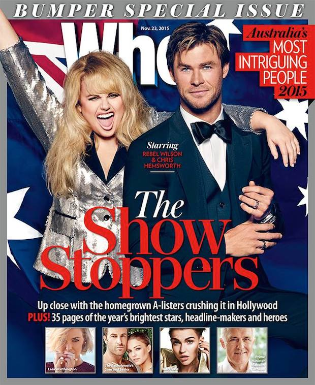 WHO Australia magazine cover with Rebel Wilson and Chris Hemsworth