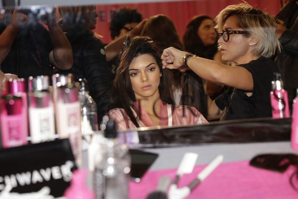 Kendall Jenner backstage at Victoria's Secret Fashion Show 2015