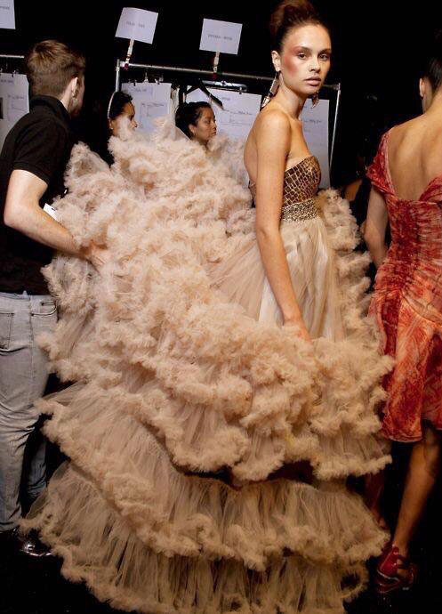 model backstage at Christian Siriano