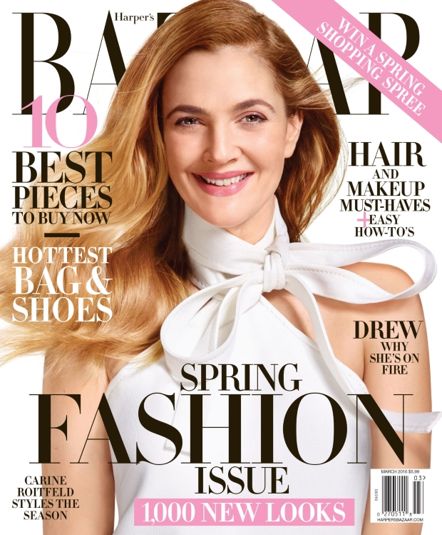 US Harper's Bazaar March 2016 : Drew Barrymore by Jean-Paul Goude