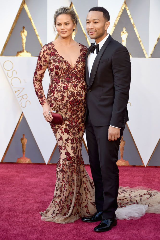 Chrissy Teigen in Marchesa at the Oscars 2016