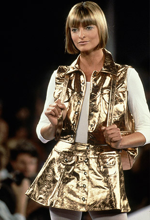 Linda Evangelista in a metallic mini and matching vest at the Anna Sui Spring 1994 show circa 1993.