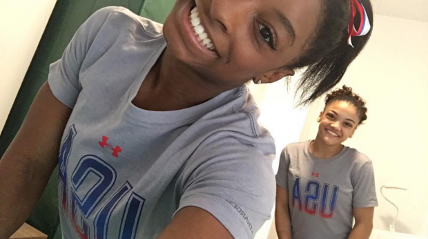American Olympic gymnasts Simone Biles and Laurie Hernandez show off their beautiful, makeup-free faces.