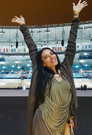 Lea T poses in Brazil's Maracana Stadium, site of Friday's Rio Opening Ceremonies.