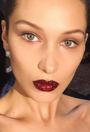 Bella Hadid in Pat McGrath's Lust 004 lip set.