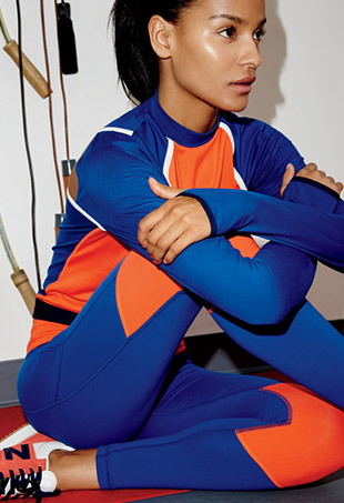 Brazilian model and master Muay Thai fighter Gracie Carvalho in a look from the New Balance x J.Crew women's active collection.