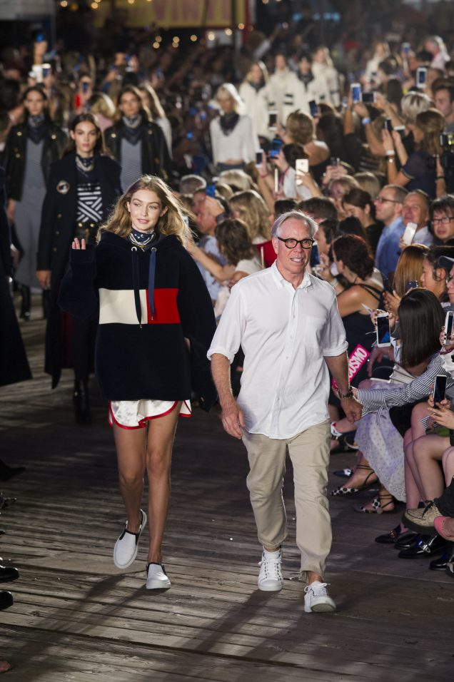 Hilfiger and Hadid close the runway of their debut Tommy x Gigi presentation.