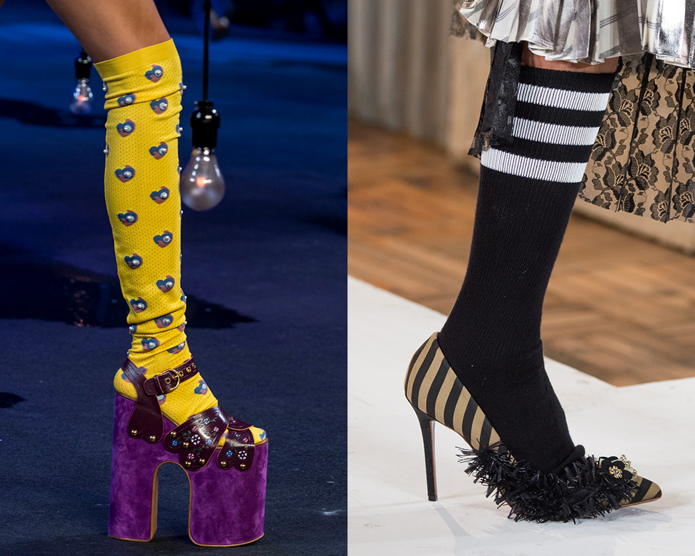 Fun socks on the runway at Marc Jacobs Spring 2017, Antonio Marras Spring 2017; Images: Imaxtree