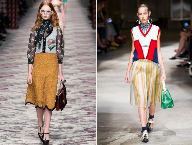 Sweater vests at Gucci Spring 2016 and Prada Spring 2016.