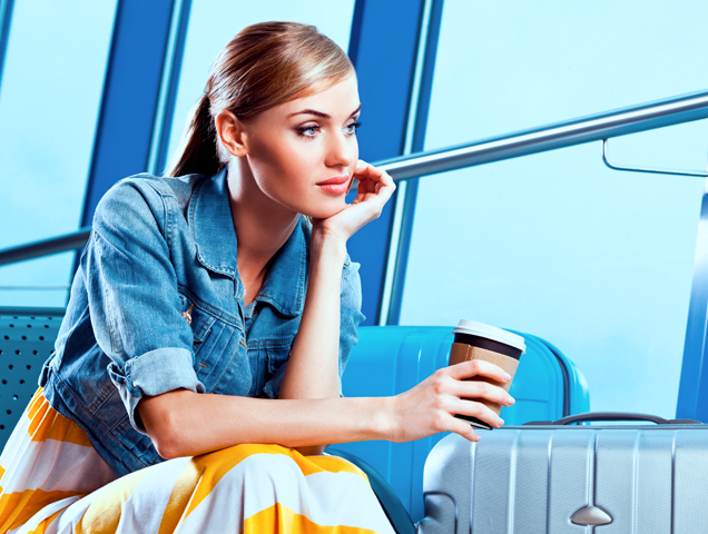 relaxed woman in airport