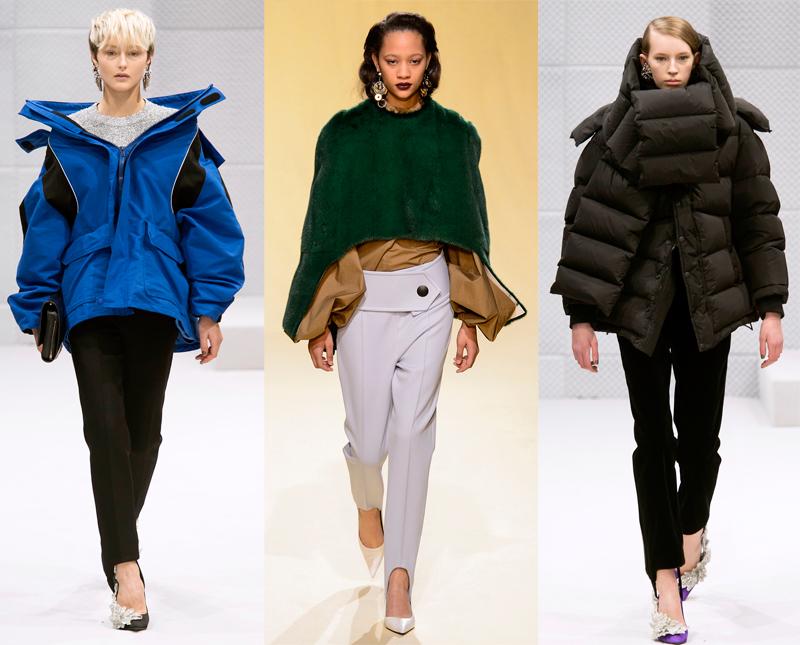 Models walk the runway in stirrup pants at Balenciaga and Marni Fall 2016