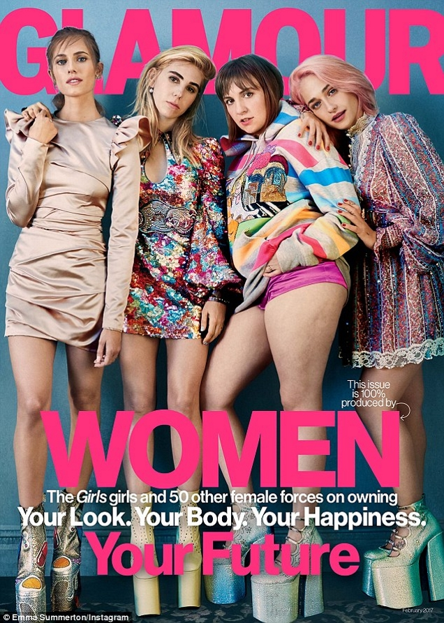 US Glamour February 2017 : The Cast of Girls by Emma Summerton