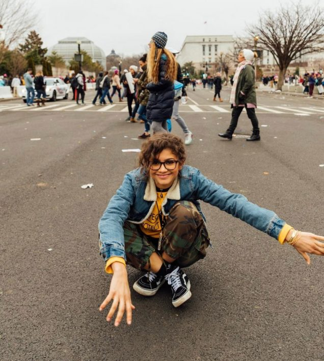 Zendaya (metaphorically) standing with women at the January 21 Women's March on Washington.