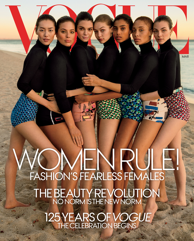 Liu Wen, Ashley Graham, Kendall Jenner, Gigi Hadid, Imaan Hammam, Adwoa Aboah and Vittoria Ceretti , Vogue March 2017 cover