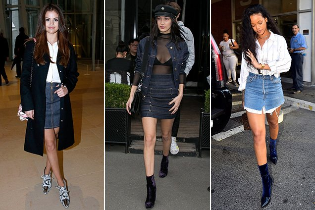 Celebs take on the denim skirts trend